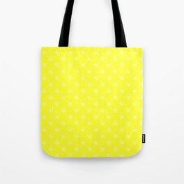 White on Electric Yellow Snowflakes Tote Bag