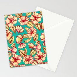 Retro style Rust & Teal Hand drawn Floral Pattern Stationery Cards