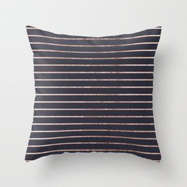 Elegant Chic Rose Gold Stripes and Navy Blue Throw Pillow
