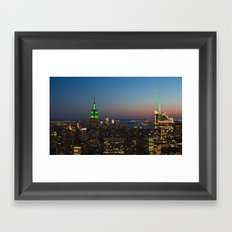 Green Empire State Building and Bank of America Tower at dusk Framed Art Print