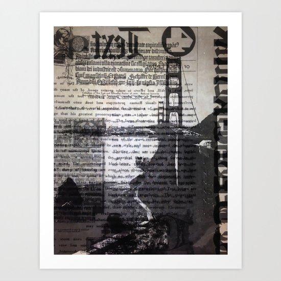 Golden Gate Bridge Text Collage Art Print