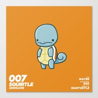 squirtle Canvas Prints featuring 007 Squirtle by Fightstacy