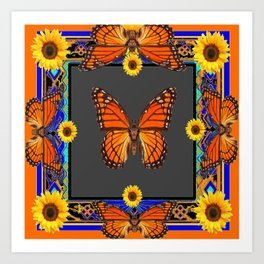 Orange Monarch Butterflies Yellow Sunflowers Blue Patterns Art Art Print