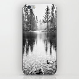 Forest Reflection Lake - Black and White  - Nature Photography iPhone Skin
