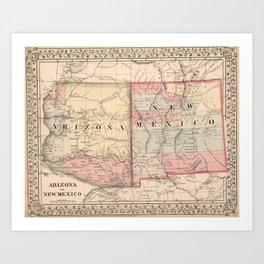 Vintage New Mexico and Arizona Map (1868) Art Print