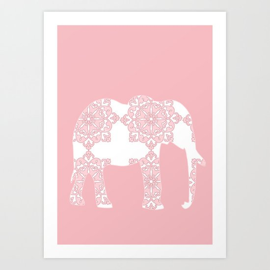 Animals Illustration - Pink Damask Elephant Art Print