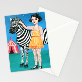Tattooed circus girl with zebra. Stationery Cards
