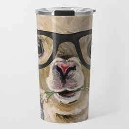 Cute Alpaca With Glasses Travel Mug