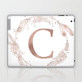 Letter C Rose Gold Pink Initial Monogram Laptop & iPad Skin