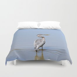 Great Blue Heron Fishing - I Duvet Cover