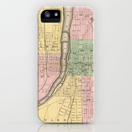 Vintage Map of Grand Rapids Michigan (1873) iPhone Case