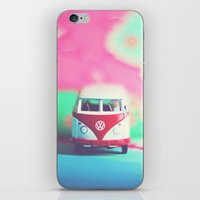 vw bus iPhone & iPod Skins featuring Red & White VW Bus by Anna Dykema Photography