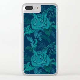 Tiger Greenery Clear iPhone Case