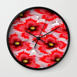 A Garden of Blossoms in Red Wall Clock