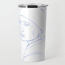 Girl with Pearl Earring - Line Art Travel Mug