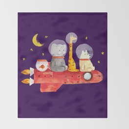 Let's All Go To Mars Throw Blanket