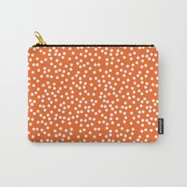 Persimmon and White Polka Dot Pattern Carry-All Pouch