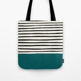Dark Turquoise & Stripes Tote Bag