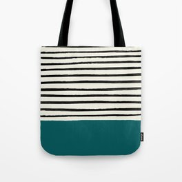 Dark Turquoise & Stripes Tote Bag