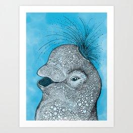 Happy Little Beluga Whale Art Print