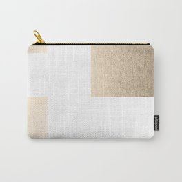 Simply Geometric in White Gold Sands on White Carry-All Pouch