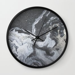 -Black and white acrylic marbling Wall Clock