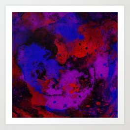 Colour Warfare - Abstract, red, blue, black and purple painting Art Print