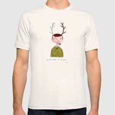 One real antler, one imagined SMALL Natural Mens Fitted Tee