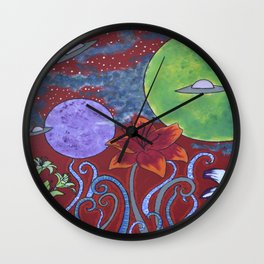 Lilie Invasion in Red S1 Wall Clock