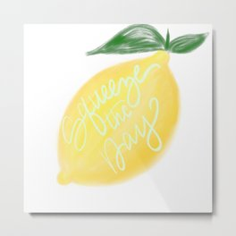 Squeeze the day lemon art Metal Print