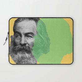 Walt Whitman portrait yellow green Laptop Sleeve