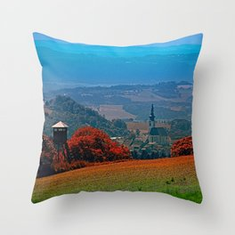 A hunting perch, a village and some vivid scenery Throw Pillow