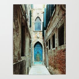 Venice Italy Turquoise Blue Door Poster