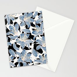 Exotic Florals in Blue and Light Yellow Stationery Cards