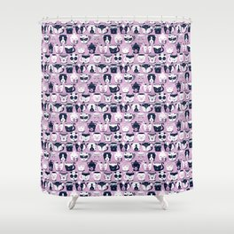 Cuddly Tea Time // white navy & light orchid pink animal mugs Shower Curtain