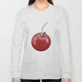 red Apple and a cocktail straw Long Sleeve T-shirt