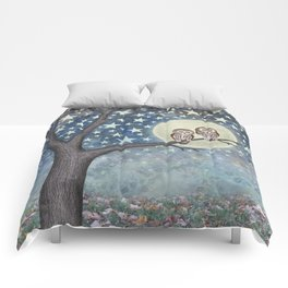 northern saw whet owls under the stars Comforters