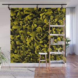 Explosive bright on color from spots and splashes of yellow paints. Wall Mural