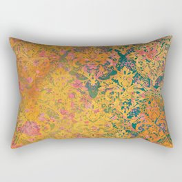 Abstract Pattern:  Watercolor Deep Tones Fancy Prints Gold and Teal Rectangular Pillow