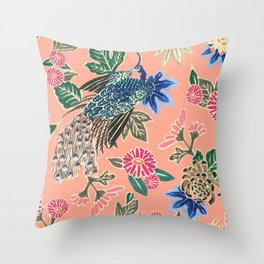 Peacock Floral in Coral Throw Pillow