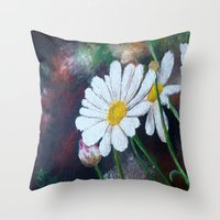 daisies Throw Pillows featuring Daisies  by ANoelleJay