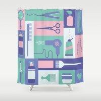 school Shower Curtains featuring Beauty School by Ariel Wilson
