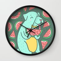 daria Wall Clocks featuring Watermelon Dog by Anna Alekseeva kostolom3000