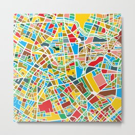 Happy city map Metal Print