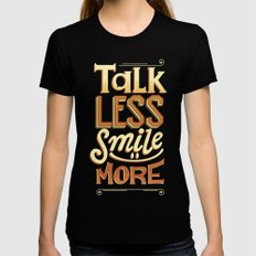 Talk Less Smile More LARGE Womens Fitted Tee Black