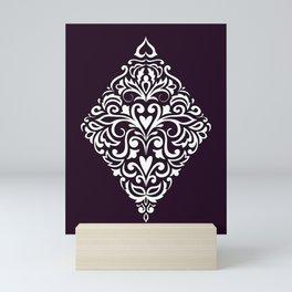 white damask rhombus Mini Art Print