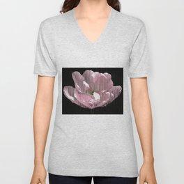 Tulip with gauze textured petals Unisex V-Neck