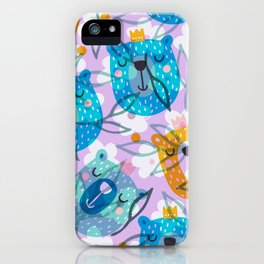 cute floral and bears pattern iPhone Case