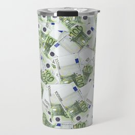Giant money background 100 euro notes / 3D render of thousands of 100 euro notes Travel Mug