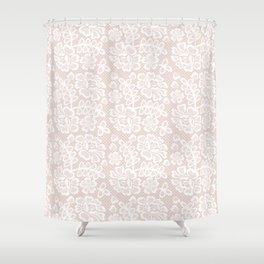 Elegant coral white modern floral lace pattern Shower Curtain